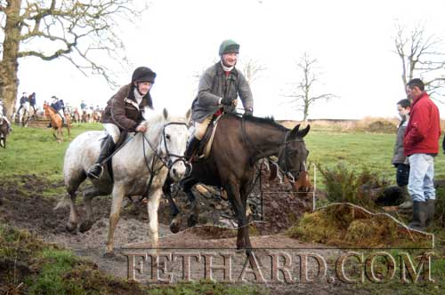 Rachael Blackmore and Patrick Kennedy photographed after jumping 'The Coffin' on Charles Blackmore's land at Mortlestown, Killenaule, on January 25, 2004, after leading the seventy riders taking part in the ten-mile Tipperary Hunt Pony Club Charity Ride in aid of Scoil Aonghusa, Cashel.