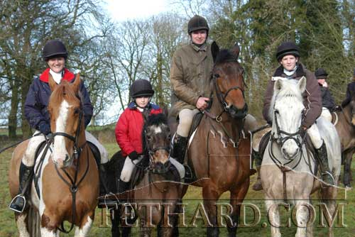 Members of the Blackmore family photographed at the Tipperary Hunt Pony Club Charity Ride held on their land at Mortlestown, Killenaule, on January 25, 2004. L to R Eimir, Charlotte, Charles and Rachael Blackmore.