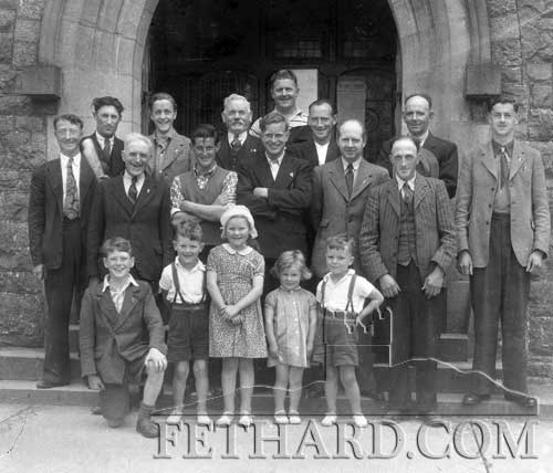 Killusty group photographed outside Killusty Church in the 1950's.  Back L to R: Mick Duggan, Jack O'Donnell, Willie Slattery, Dan Davis, Mick Byrne, Jim Darcy, Jim Corr.  Middle Row L to R: Pat Maher, Christy Williams, Johnny Sheehan, Jim Davis, Neddy Dunne.  Front L to R: Liam O'Flaherty, Phil Byrne, Carmel Byrne, Ber Byrne and John Byrne.