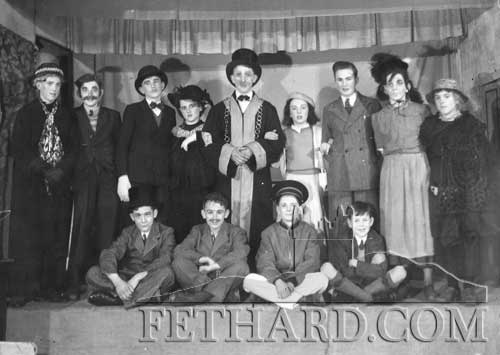 Patrician Brothers production of 'The Lord Mayor' in the early 1950s. Back L to R: Liam Connolly, Denis Hayes, Austin O'Flynn, Jim Nugent, Tossie Stapleton, Billy McLellan, Cha Finn, Percy O'Flynn, Sean Moloney. Front L to R: Gus Neville, Nicholas Skehan, Jimmy Mullins and Joe Kenny (Hilview).