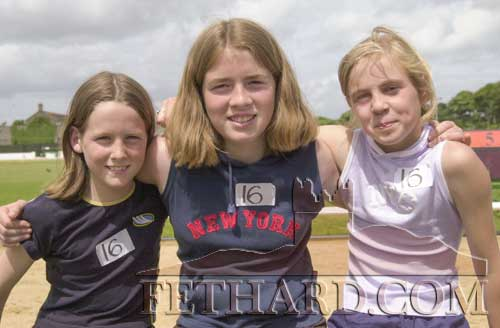 Killenaule-Moyglass athletes L to R: Rachael Blackmore, Rebecca Ryan and Elaine Kennedy competing in the County Community Games Finals in Thurles on June 24, 2001.